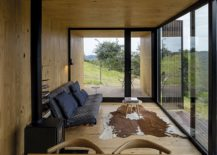 Wood clad interior of the prefab unit with gorgeous mountain views 217x155 MINIMOD Catuçaba: Eco Friendly Prefabs Help Tame Remote Landscapes