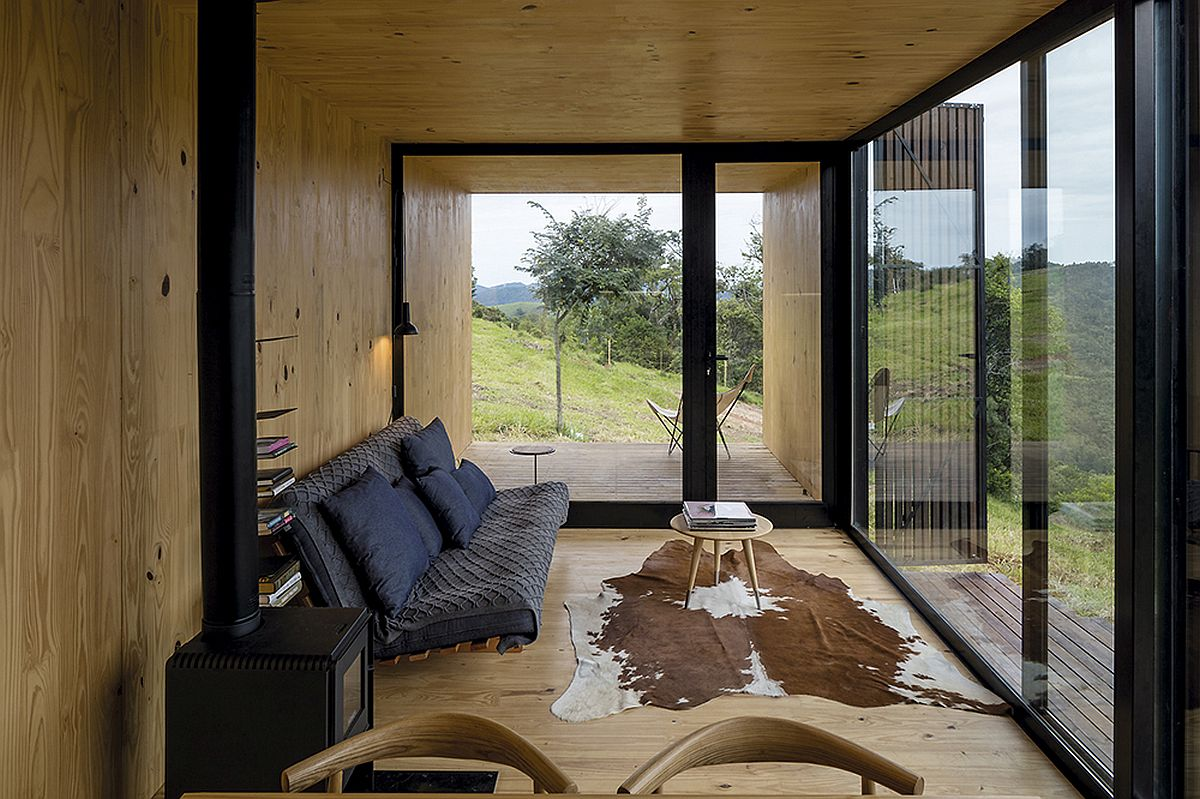 Wood-clad-interior-of-the-prefab-unit-with-gorgeous-mountain-views
