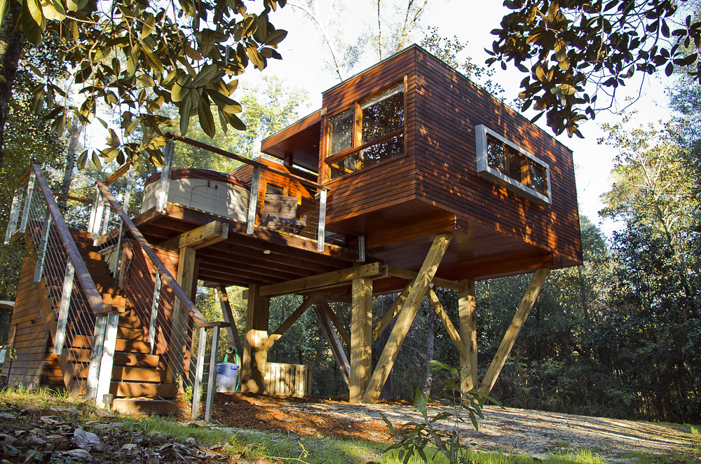 Wooden treehouse with polished look and dynamic design