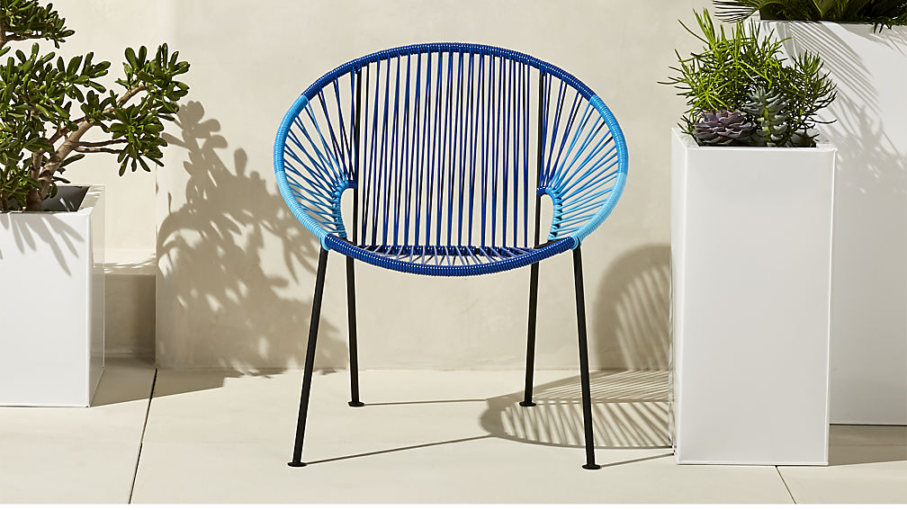 Woven blue lounge chair