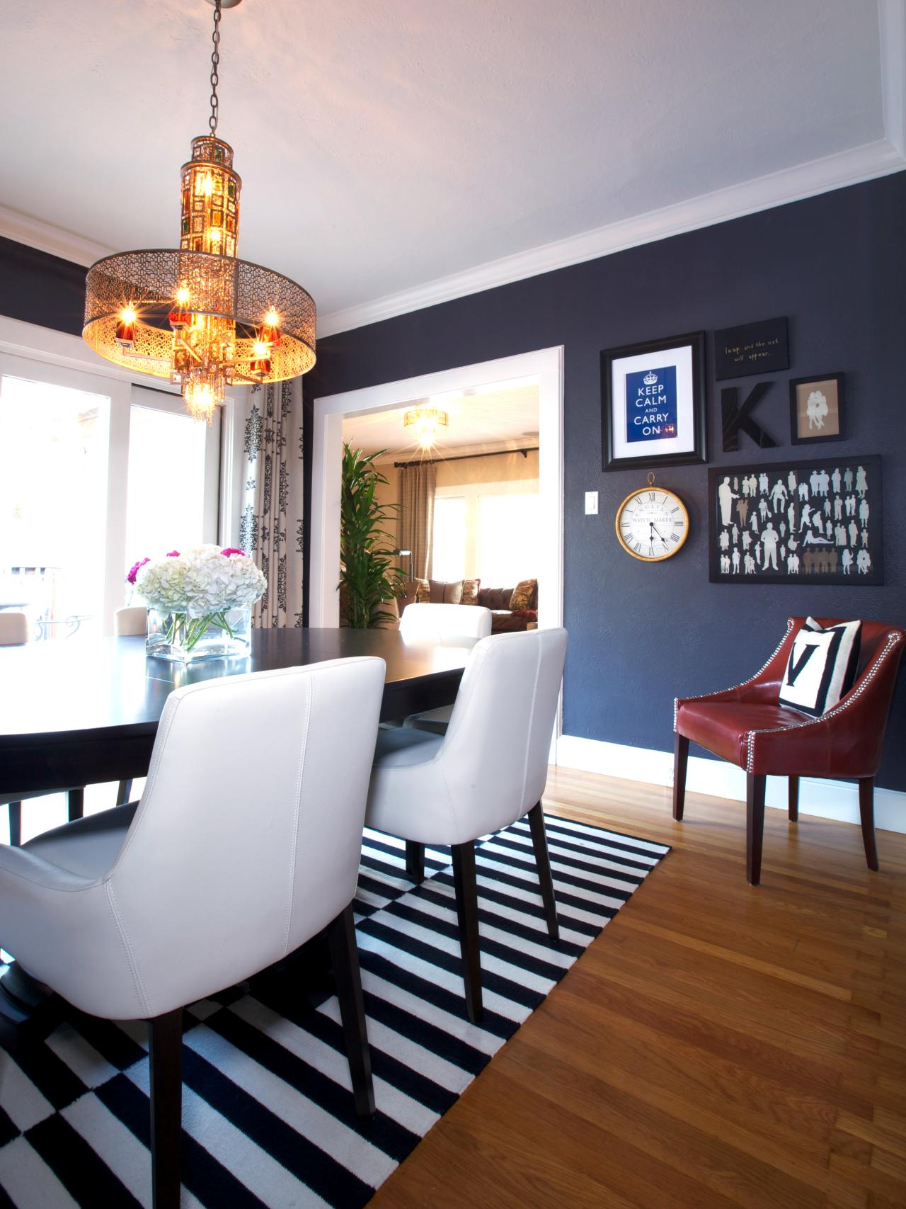 Contemporary dining room with navy blue chairs - Monochrome Elegance 30 Black And White Striped Rugs