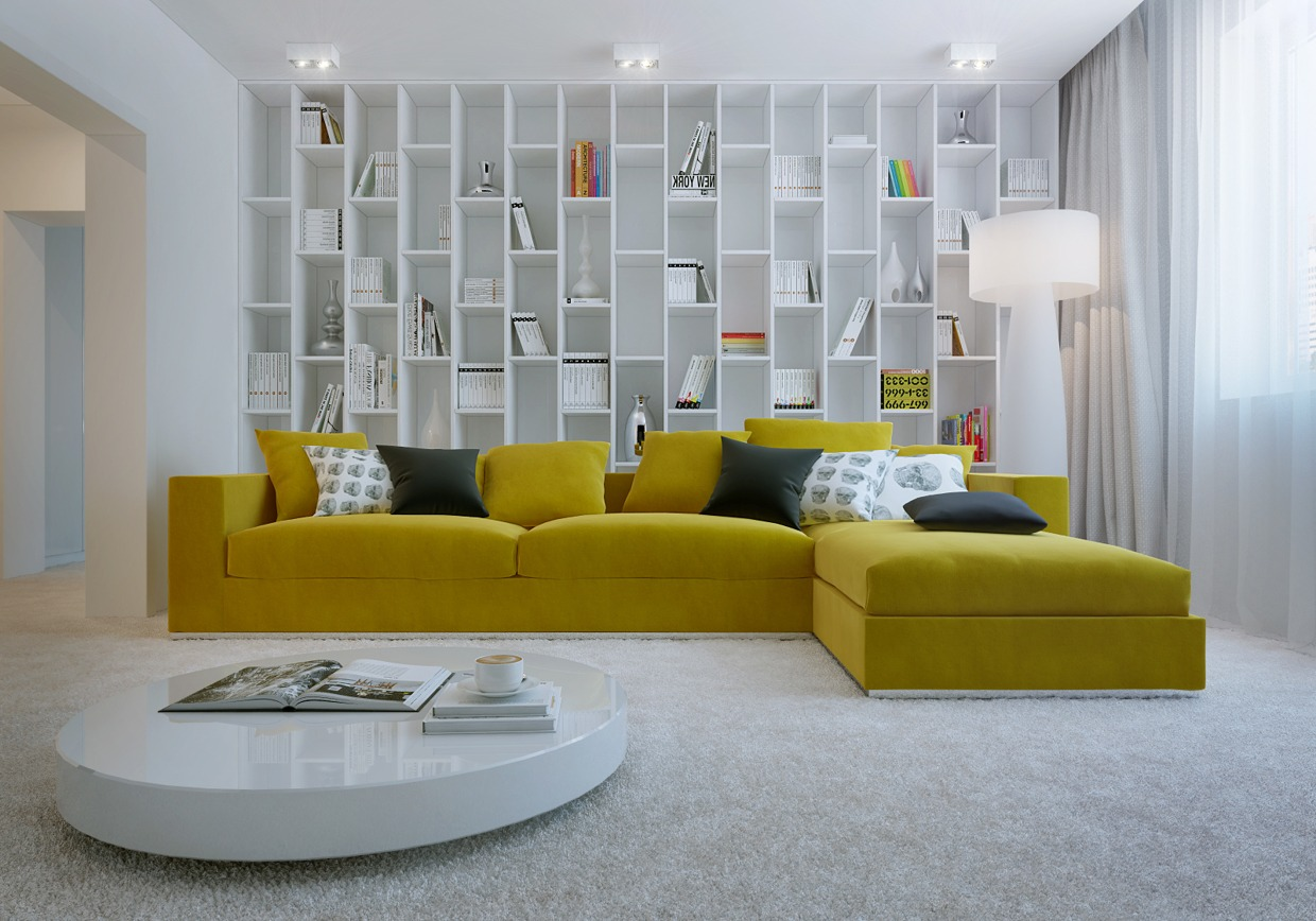 modern living room sofas. A Vibrant Living Room Yellow Sofa  Sunshine Piece for Your