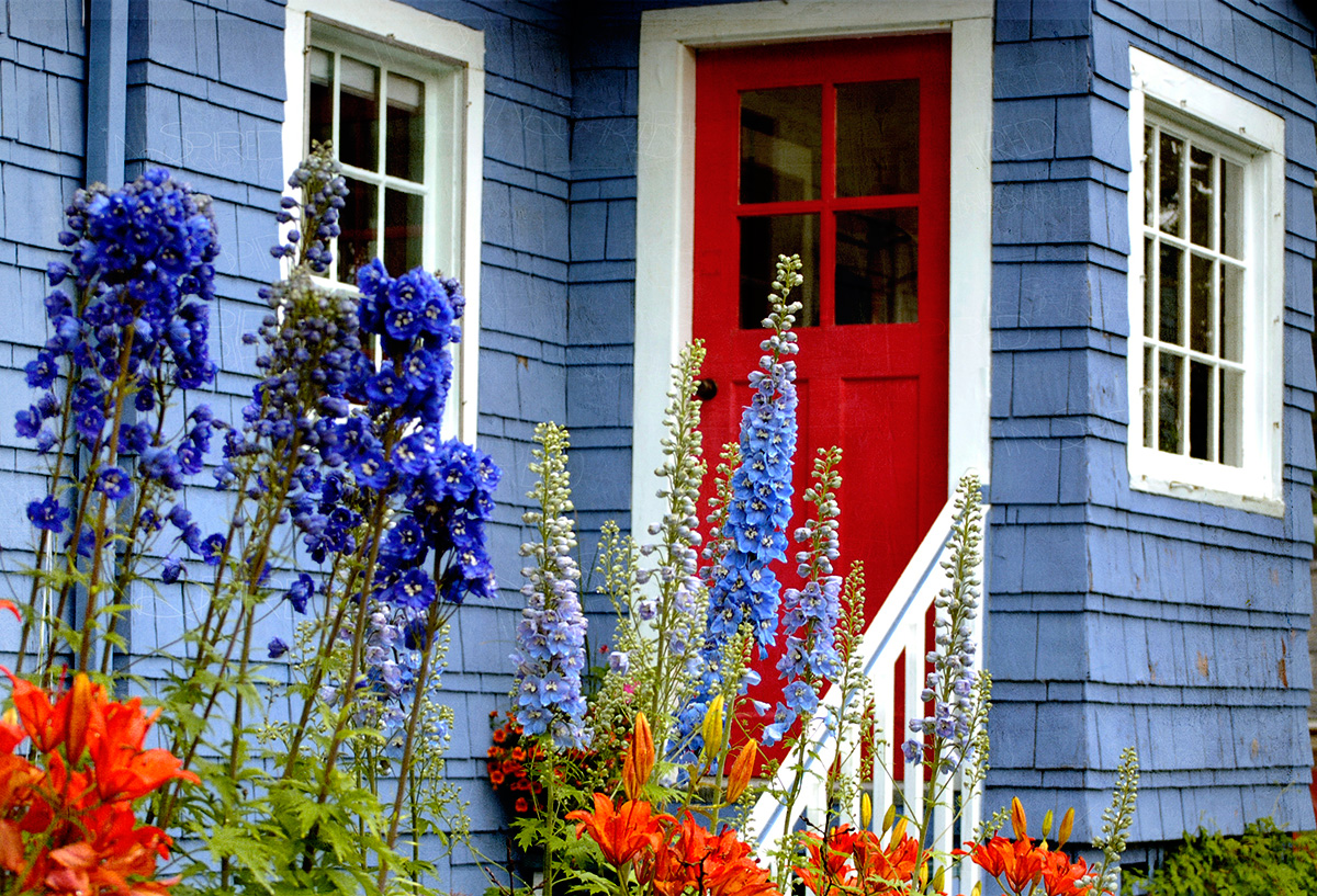 A house with lovely blue exterior and eye-catching red door