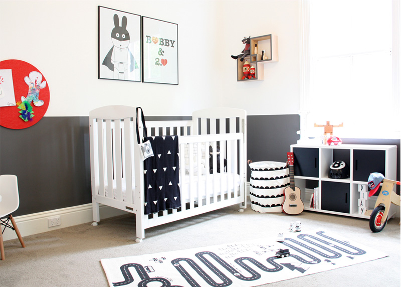 A monochrome nursery symbolizes elegance and tidiness