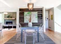 A-simplistic-dining-room-with-a-big-striped-black-and-white-rug-217x155
