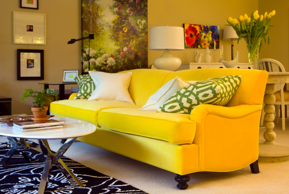 yellow sofa a sunshine piece for your living room. Black Bedroom Furniture Sets. Home Design Ideas