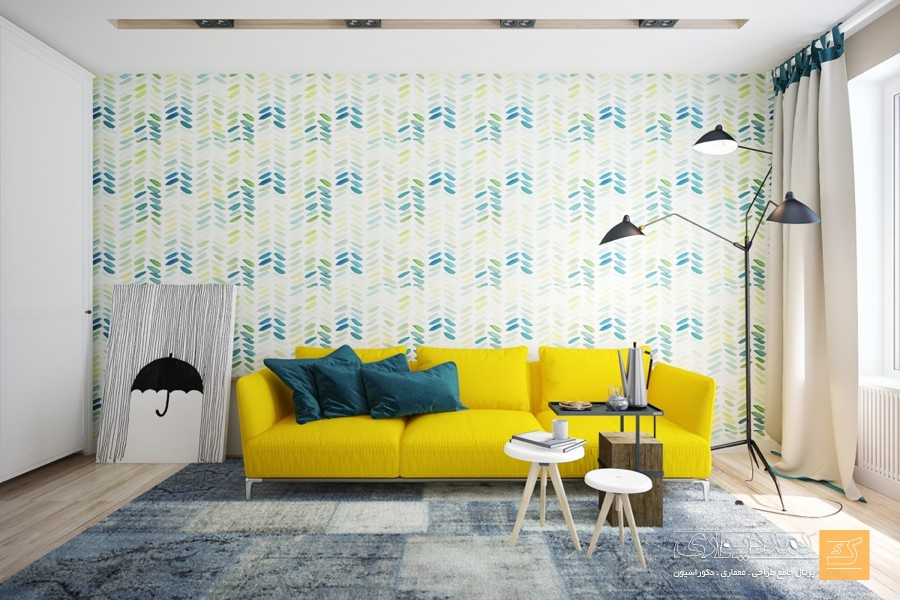 A unicolored vibrant sofa in a cheerful shade of yellow