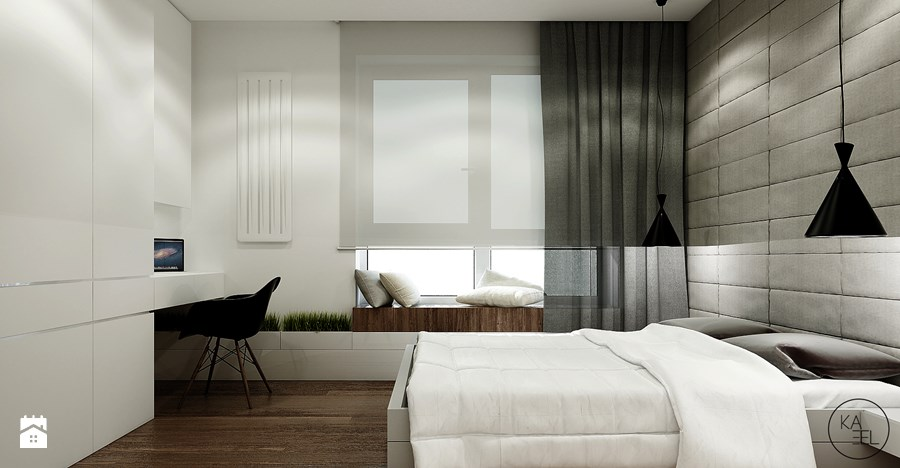 A window seat integrated into the neutral color palette