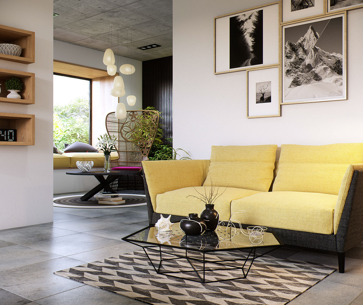 A yellow loveseat in an open living room