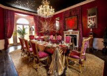 Awesome dining room in black fuchsia and gold 217x155 Luxury all the Way: 15 Awesome Dining Rooms Fit for Royalty!