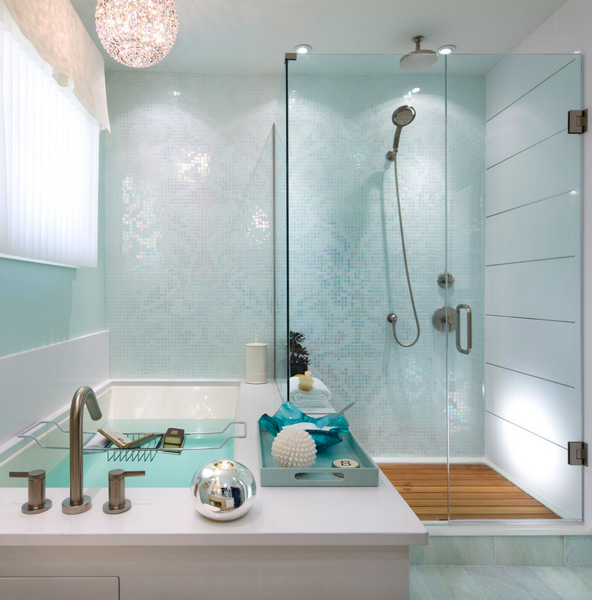 Bathroom in a soft shade of turquoise