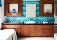 Bathroom-with-turquoise-tiles-that-resemble-fish-scales-217x155