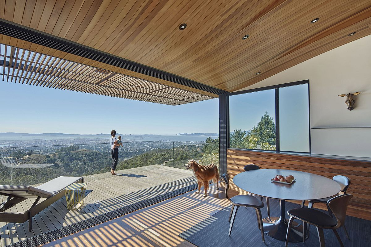 Beautiful view of Oakland and the mountain landscape from the Skyline House Wood Tube and Curved Ceiling Shape Skyline House Atop Eastbay Mountain Range