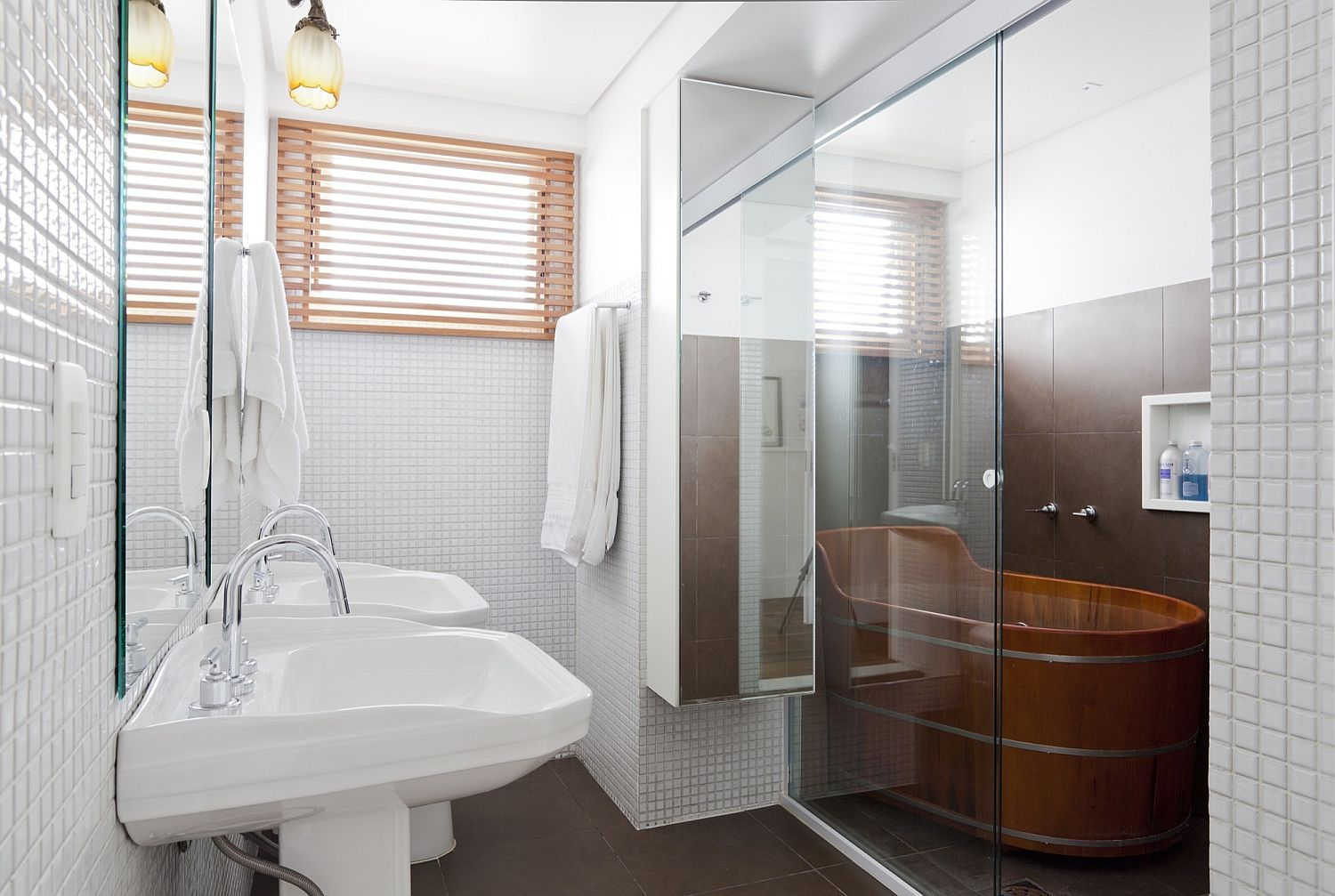 Beautiful-wooden-bathtub-steals-the-show-in-this-white-bathroom