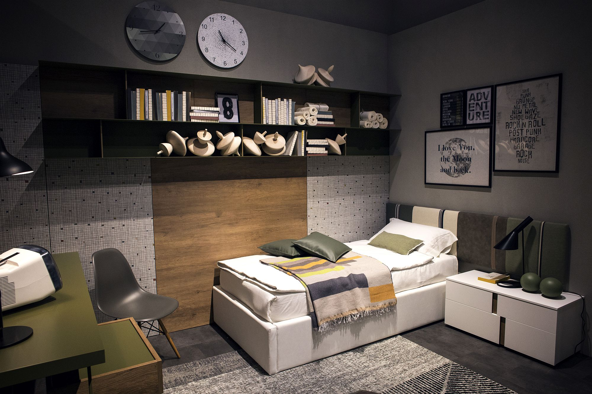 Bed in the corner frees up space in the small bedroom