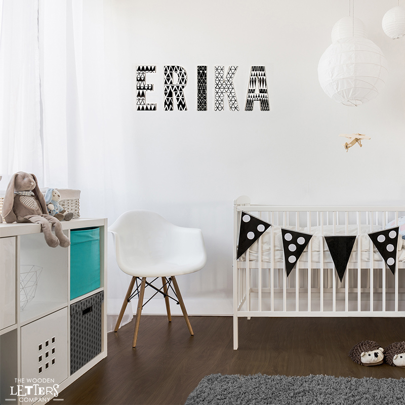 Black and white nursery decorated with lovely patterned letters