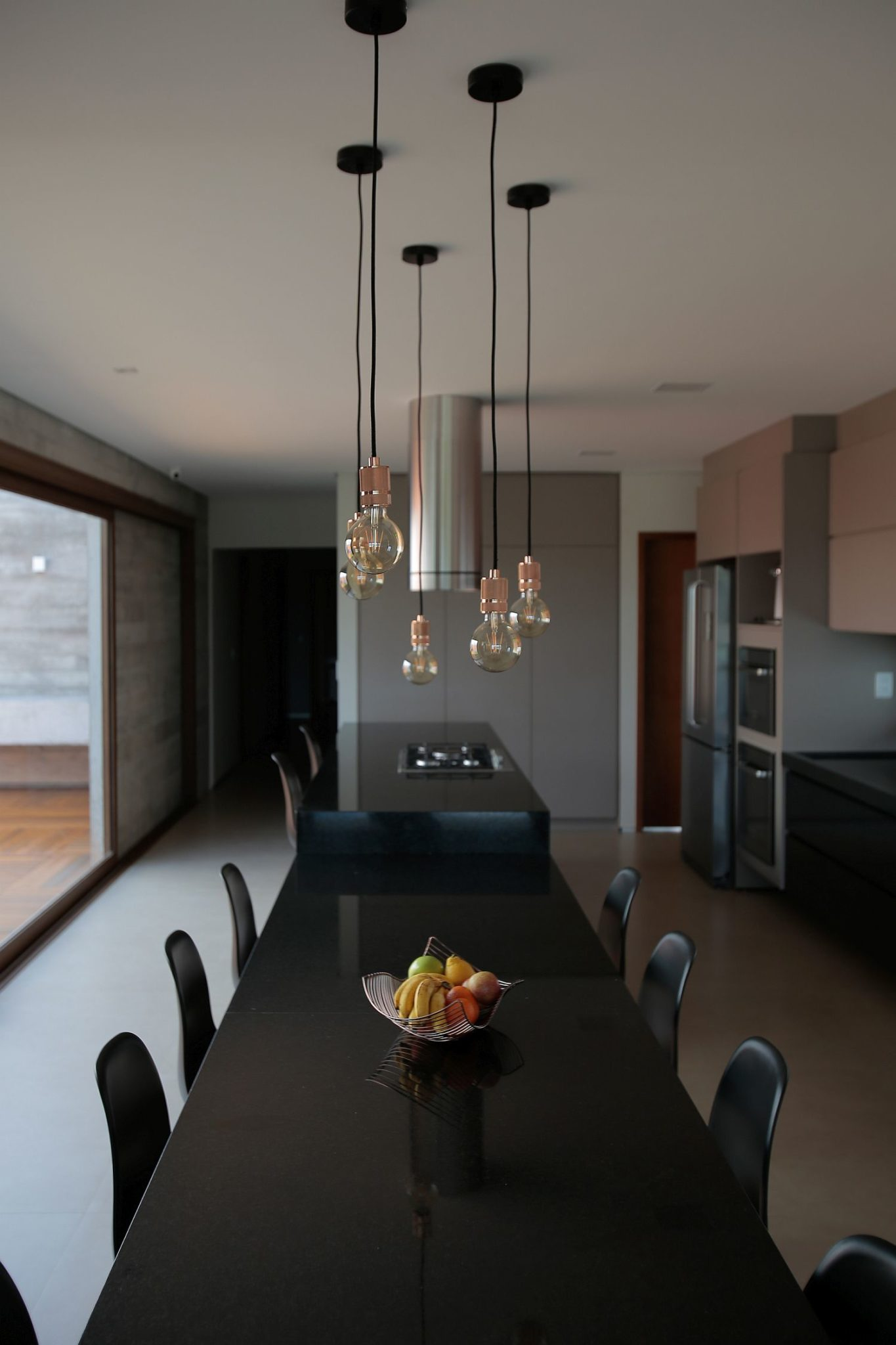 Black countertops add style to the kitchen and dining