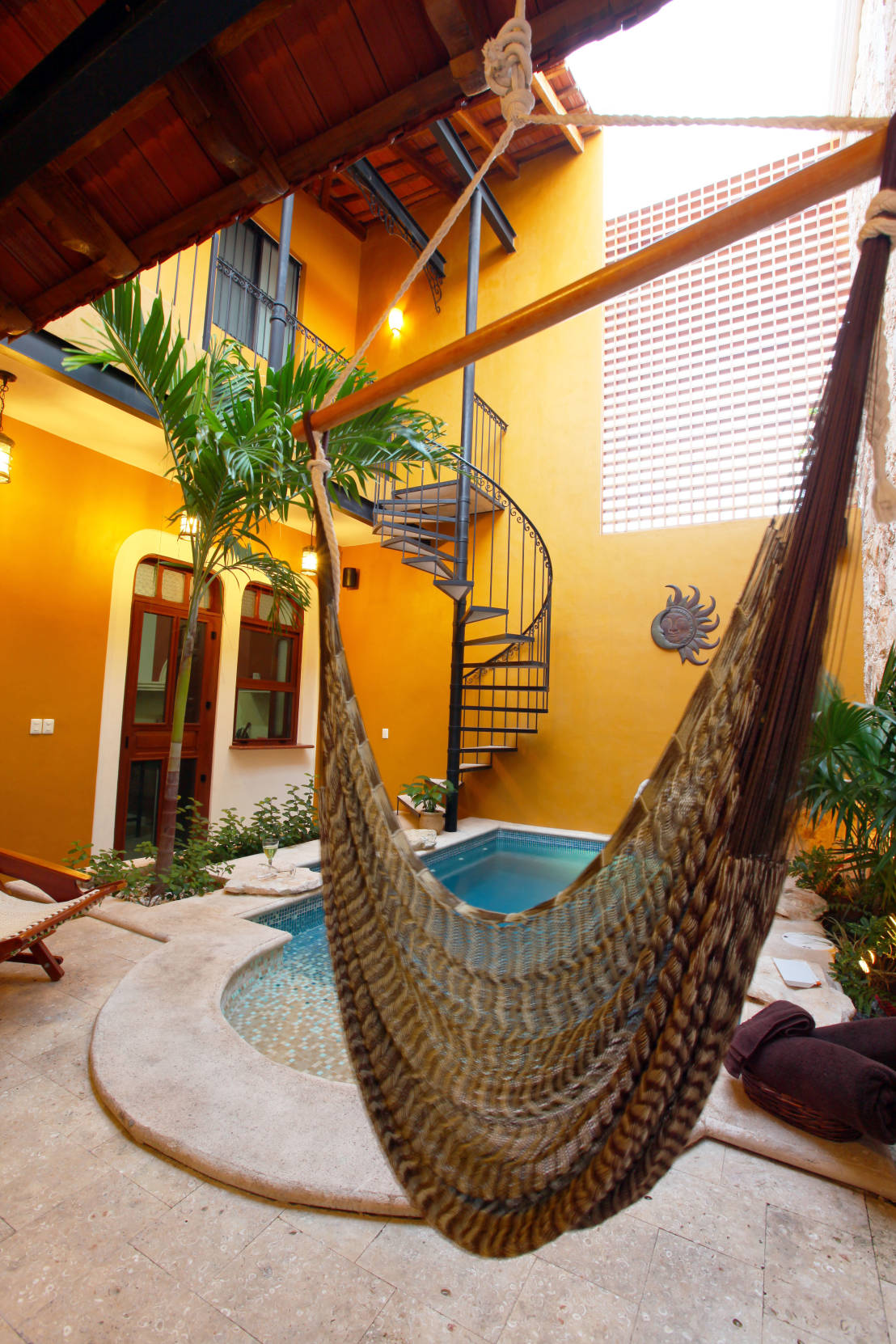 Bohemian-hammock-that-blends-in-with-the-vibrant-background-