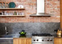 Brick wall backdrop for the modern industrial kitchen 217x155 Wood, Brick and Refined Panache: Modern Industrial Wall Street Loft