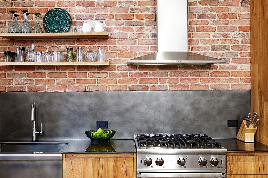 Brick wall backdrop for the modern industrial kitchen