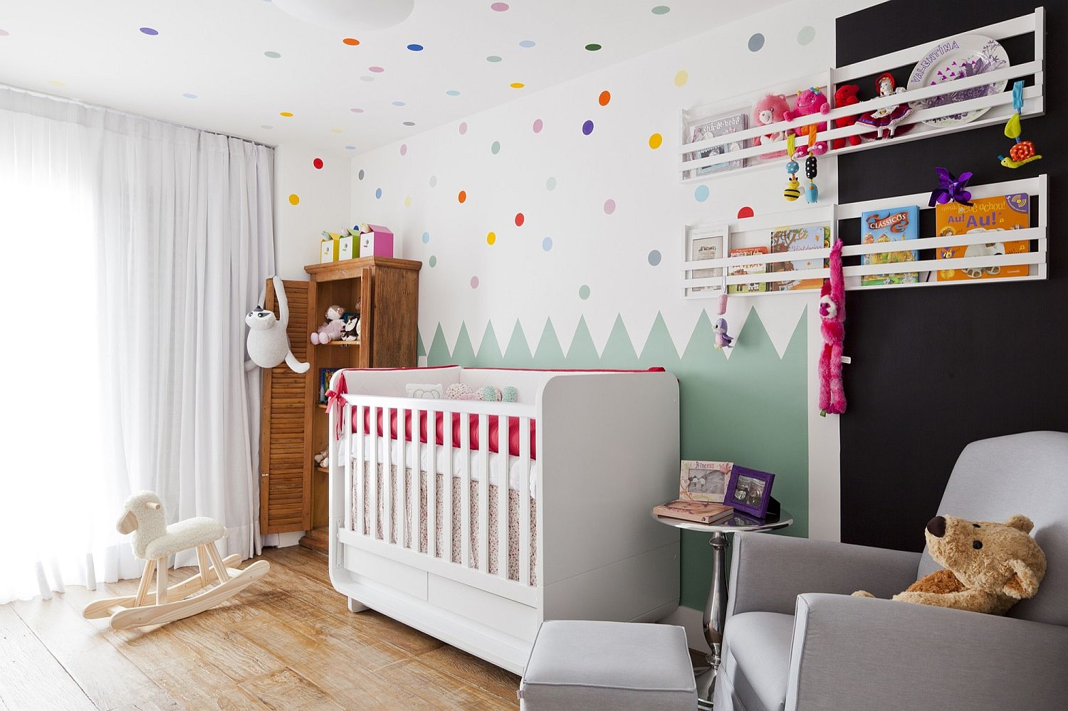 Bright and beautiful modern nursery with color and plenty of natural light