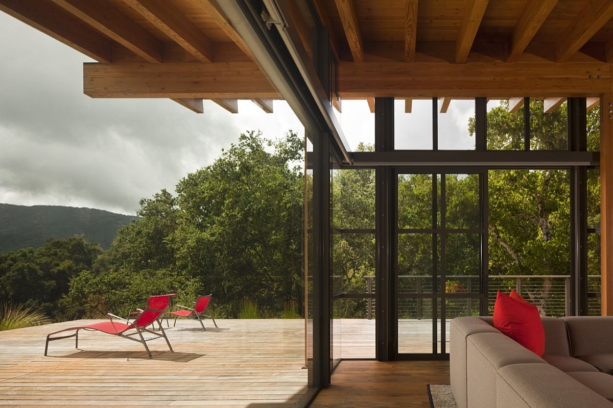 Captivating views of San Clemente Mountains and Los Padres National Forest from the timber deck Magical Mountain Views Greet You at this Guest House in Santa Lucia Preserve!