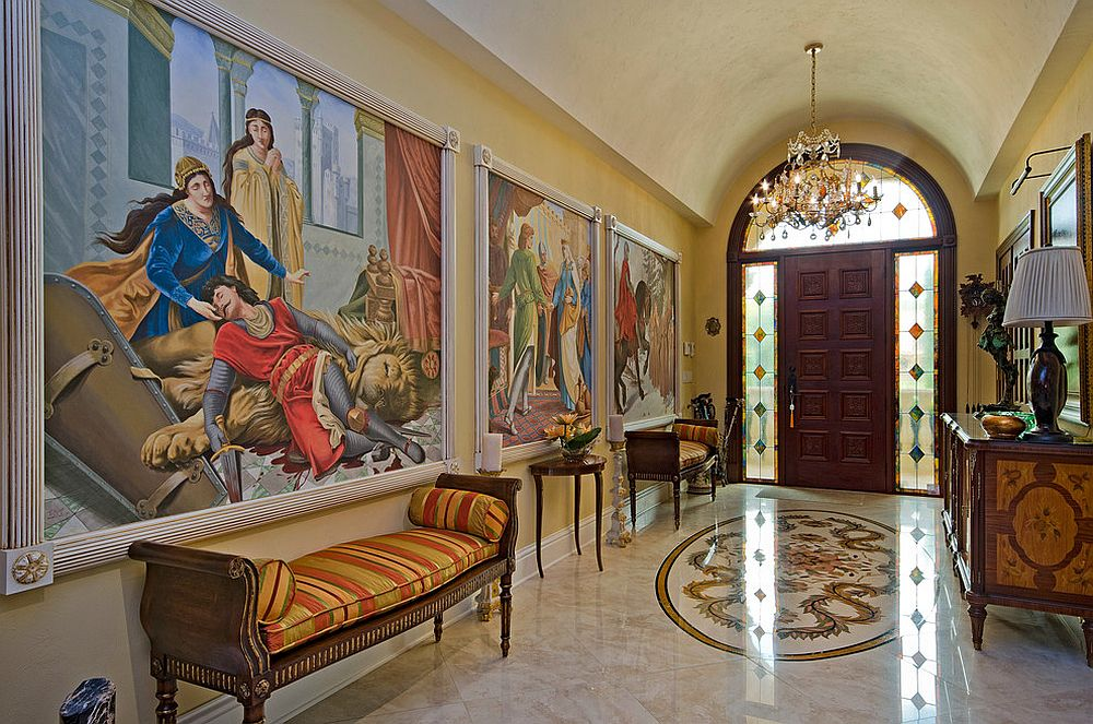 Cathedral ceiling and wall murals create a grand Victorian style entry