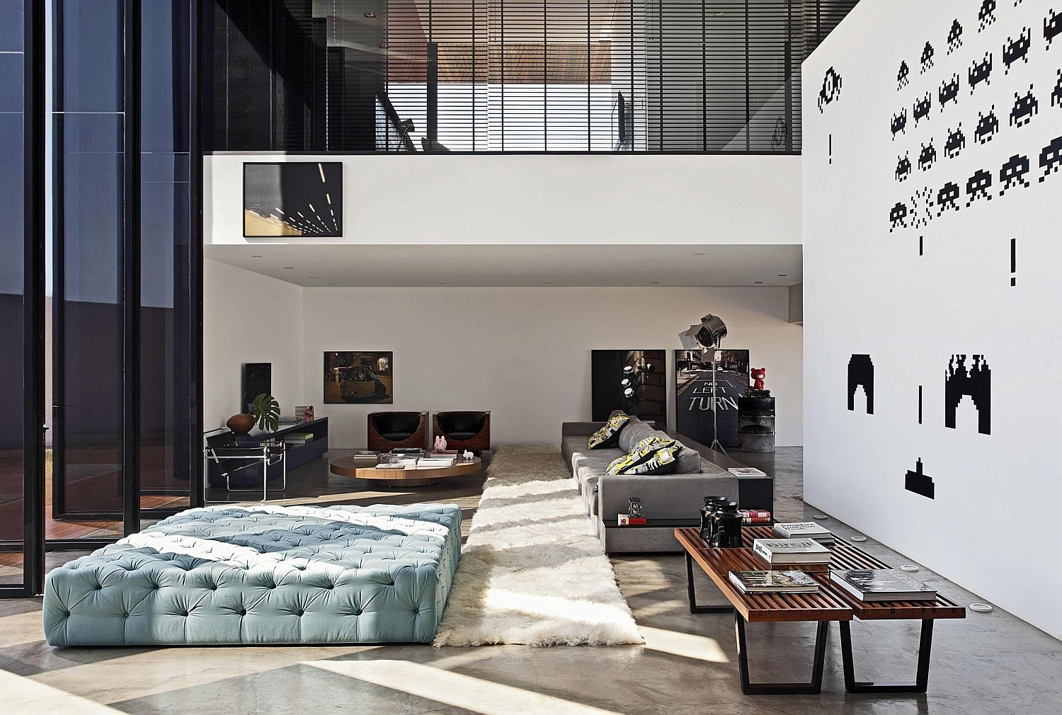 Central double height living area with ample lighting