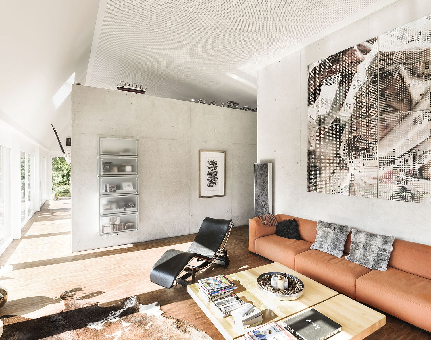 Central living area with curated decor and interesting wall art