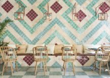 Chairs and custom decor made from olive wood add to the Andalusian flavor of the pizzeria 217x155 Vivacious Splash of Color and Pattern: Revamped Pizzeria in Valencia