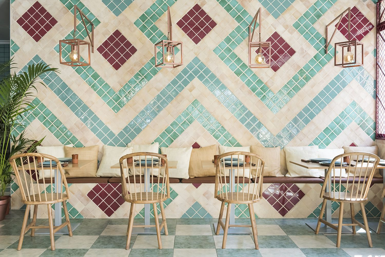Chairs and custom decor made from olive wood add to the Andalusian flavor of the pizzeria