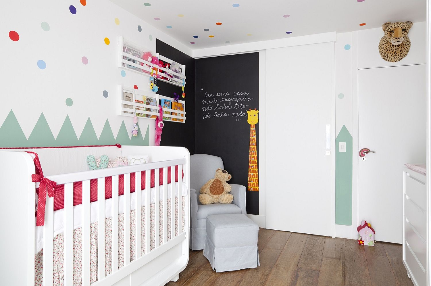 Chalkboard wall for the modern nursery with colorful wall decals