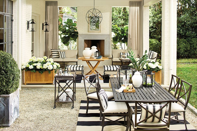 Charming monochrome rug in an outdoor setting