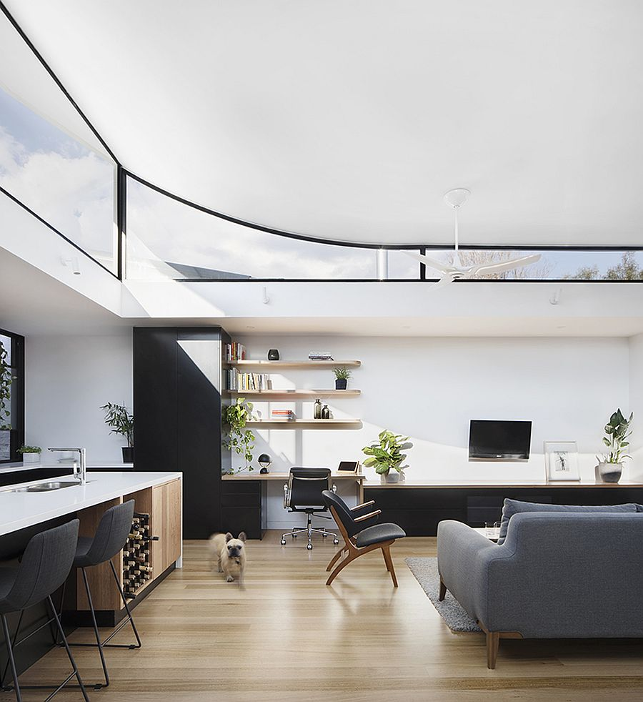 Clerestory windows and curved roof give the interior a spacious look
