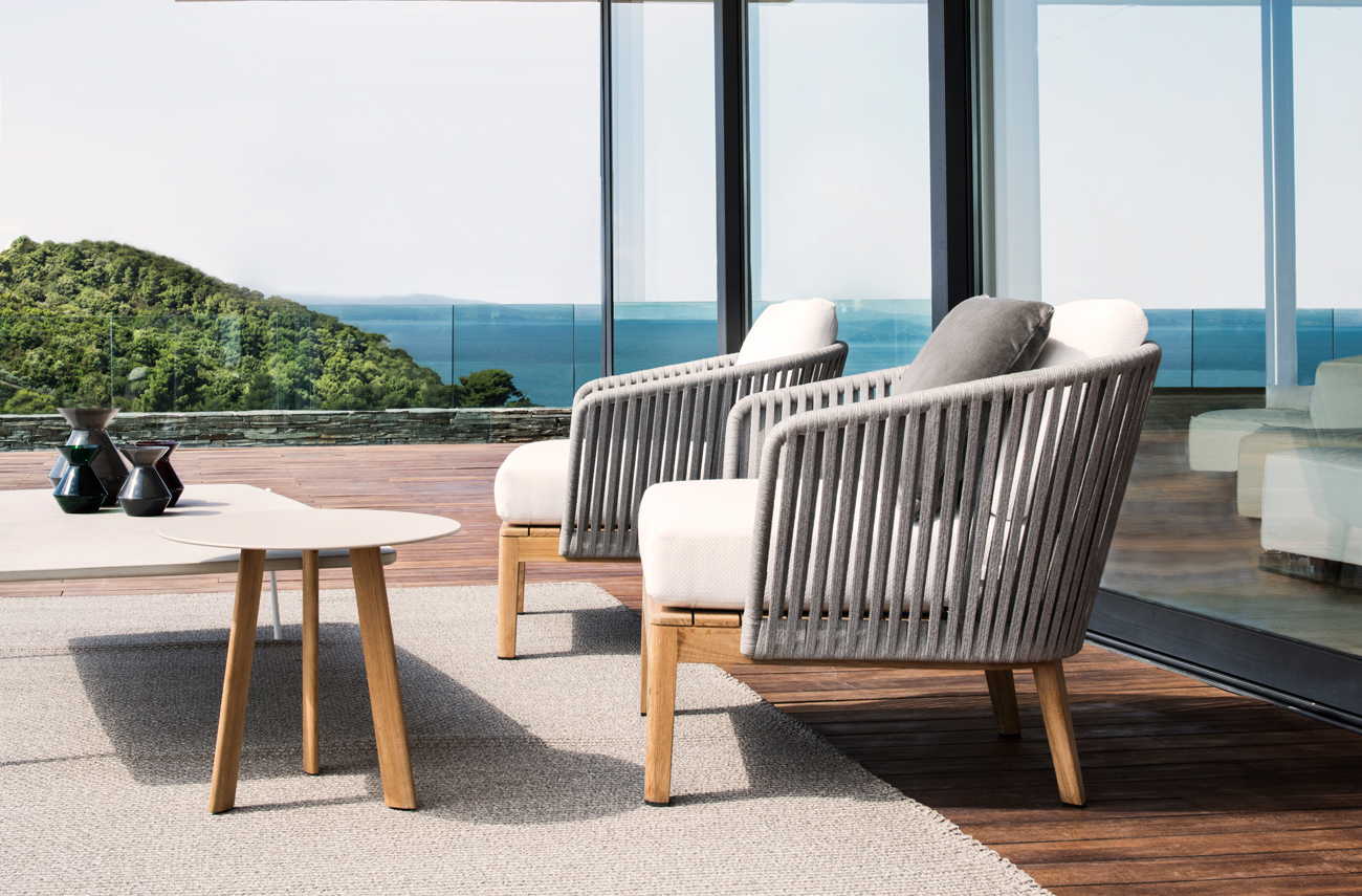 Comfortable and contemporary outdoor club chairs from Tribu