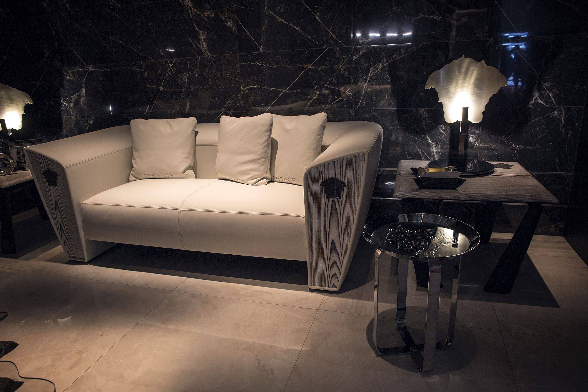 Comfortable couch in whit with classic modern design