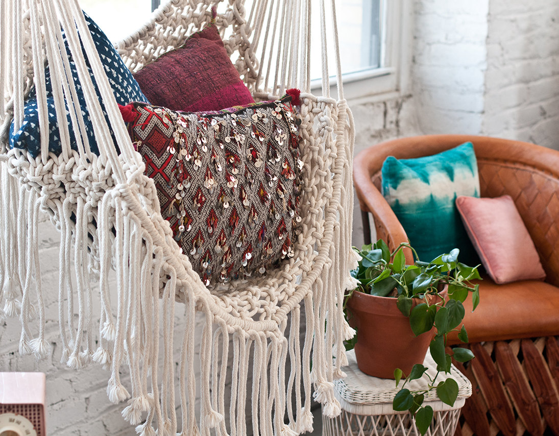 Comfortable white bohemian hammock chair