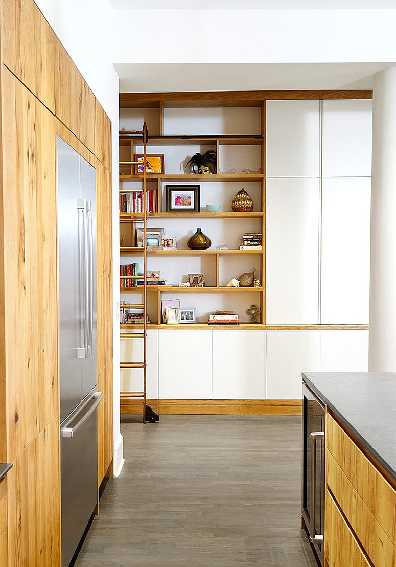 Contemporary kitchen with ample shelving next to it