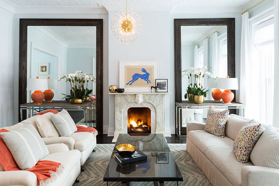 Custom made mirrors steal the show in this living room