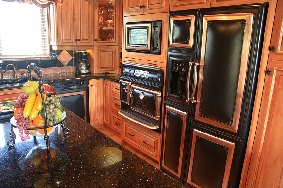 Elmira Antique refrigerator with French doors is perfect for the vintage kitchen
