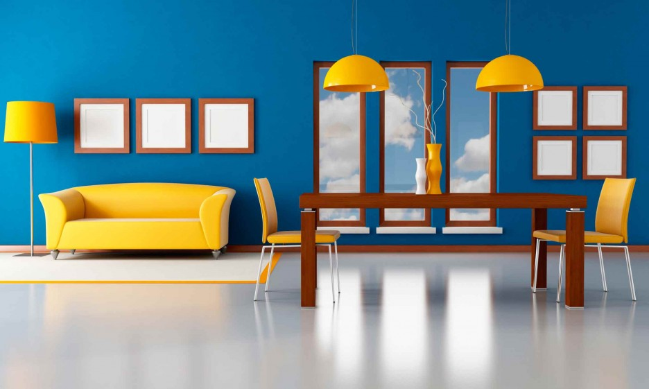 Energetic but balanced interior of yellow and blue