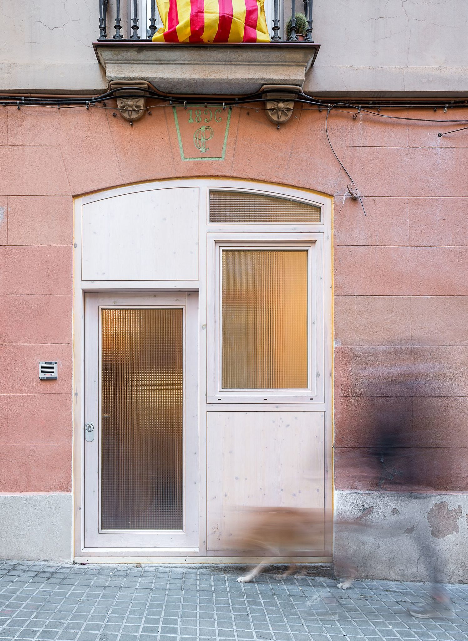 Entrance to the small studio apartment in Barcelona