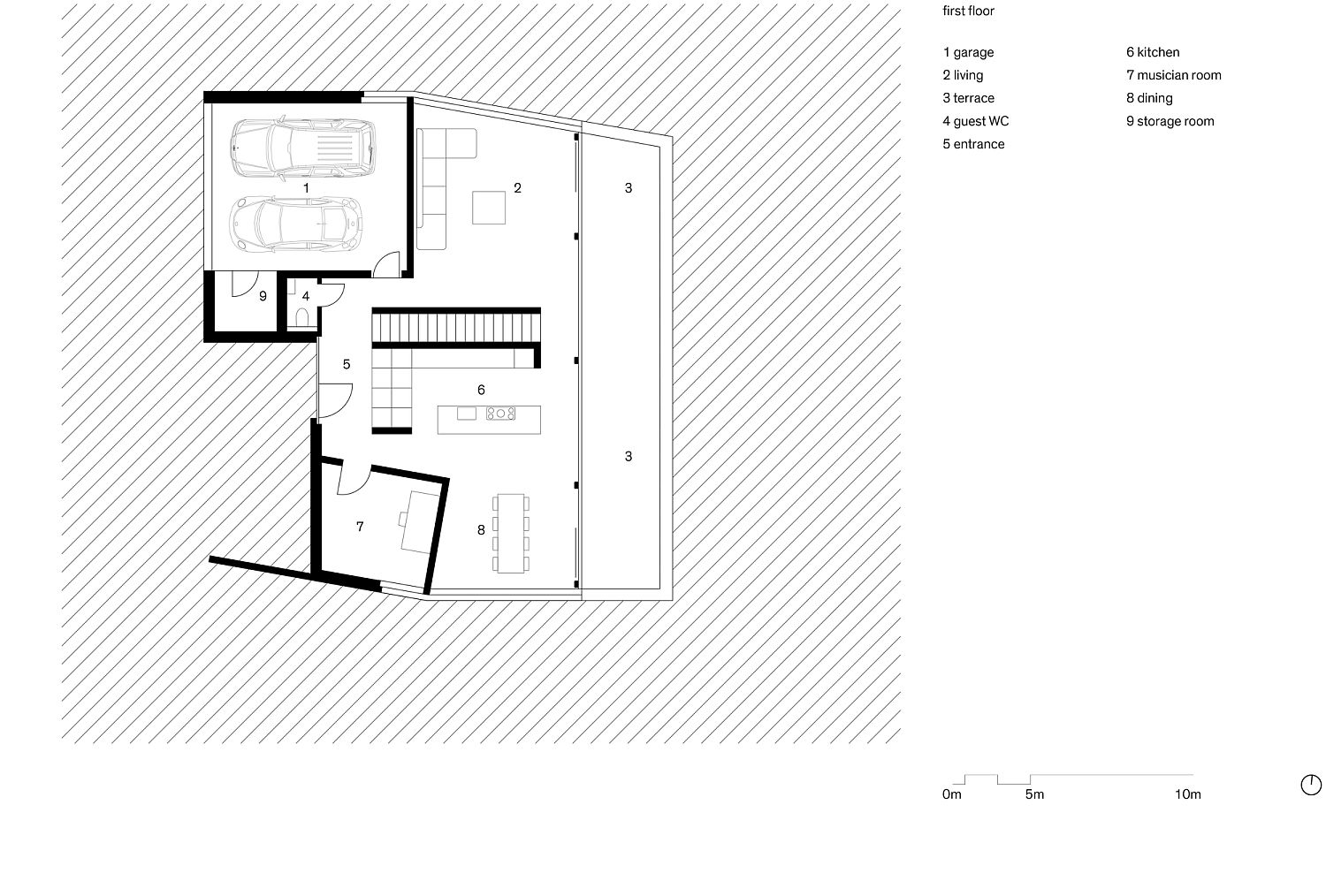First floor plan of the family house in Switzerland