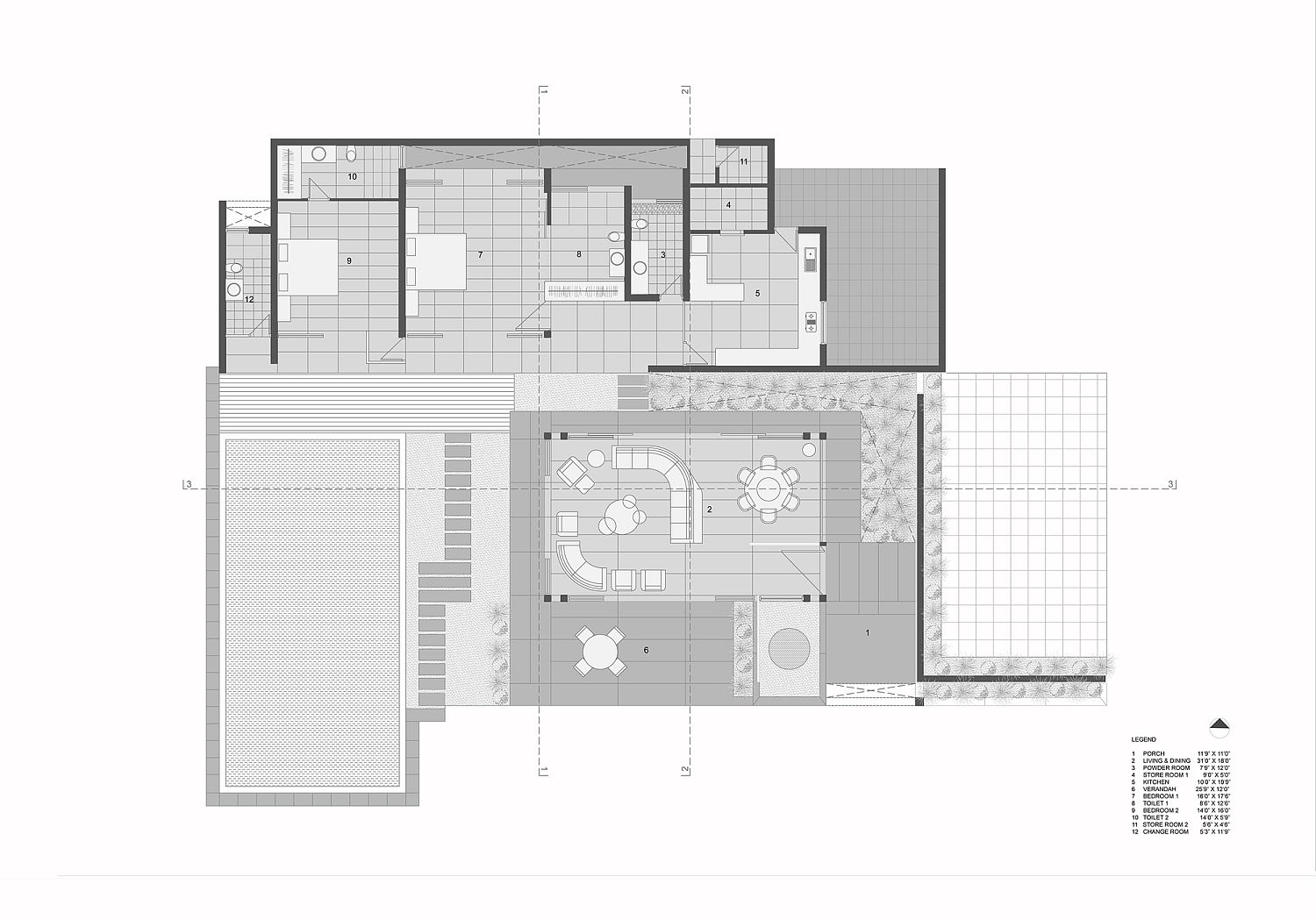 Floor plan of the Open House in Ahmedabad