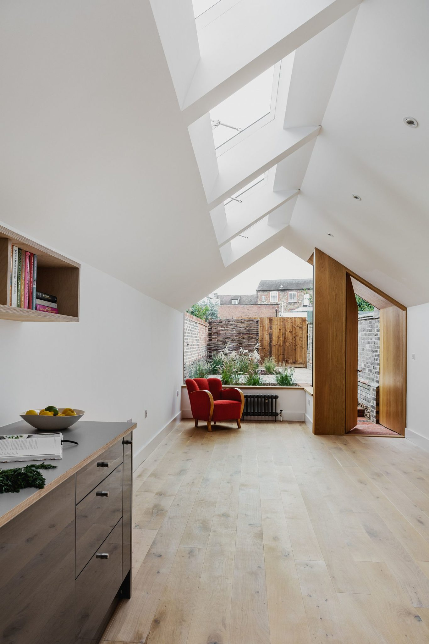 Four skylights and glass walls bring plenty of light indoors