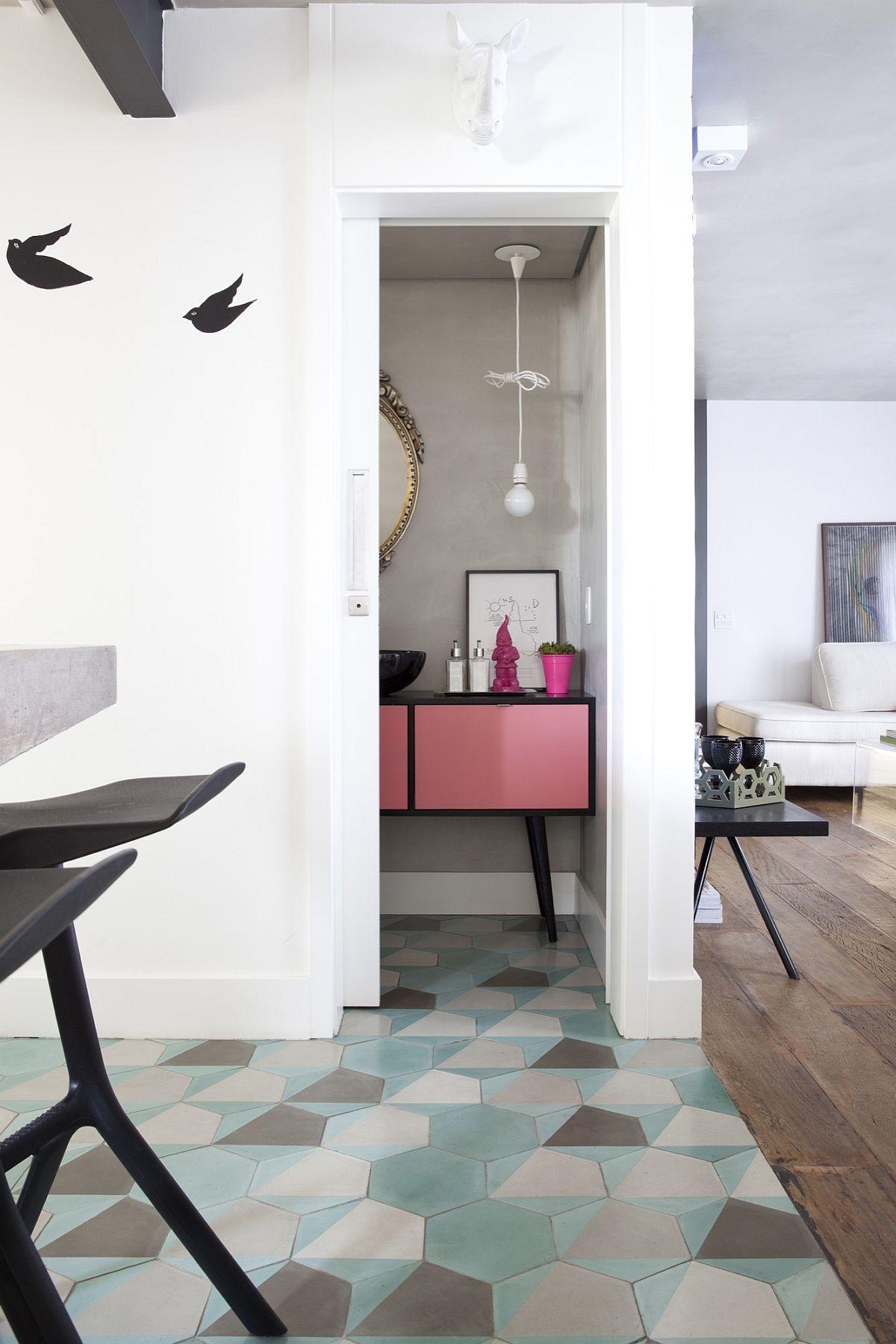 Hexagonal-floor-tiles-delineate-the-kitchen-space-in-style