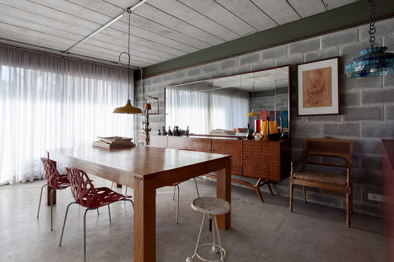 Home office with exposed cement block walls