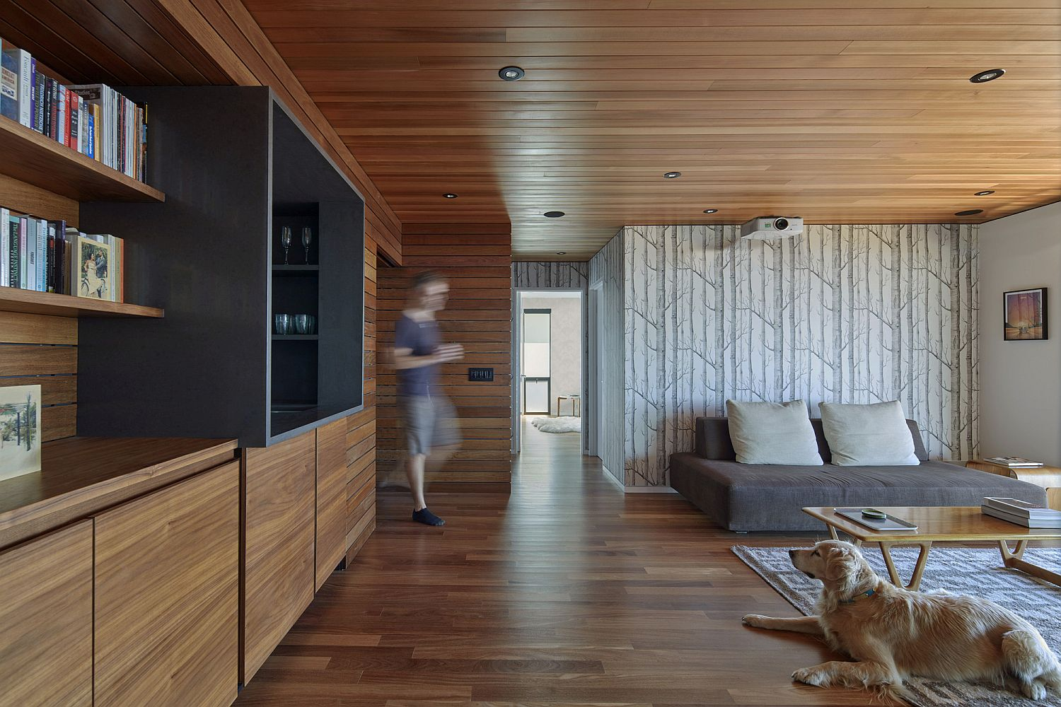 Interior draped in wood along with the Woods wallpaper!