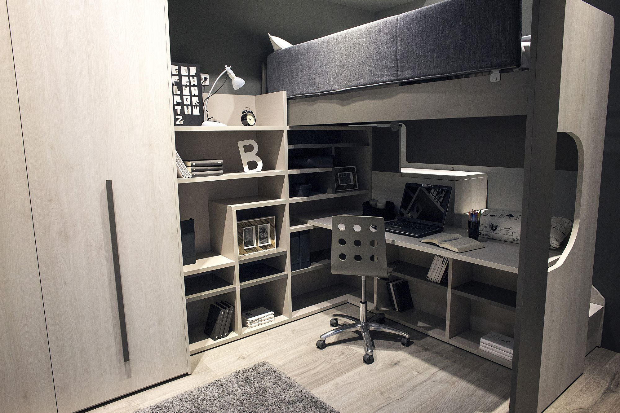Kids' loft bed with study zone underneath