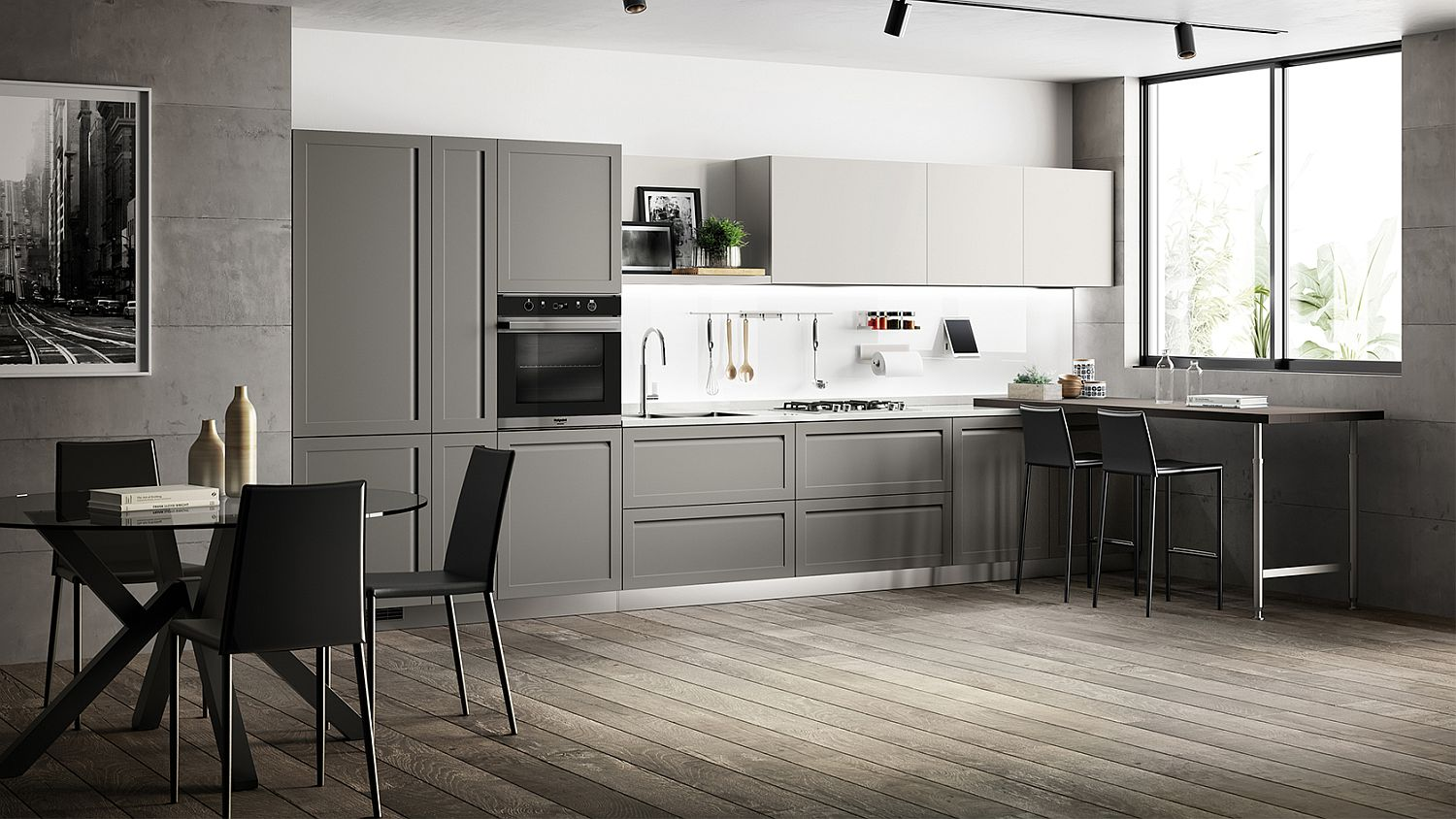 L-shaped kitchen in the corner in gray and white